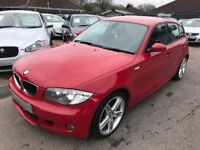 2008/08 BMW 1 SERIES 2.0 118d M SPORT 5DR RED,PART LEATHER,HIGH SPEC,ECONOMICAL,LOOKS +DRIVES WELL