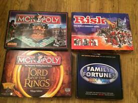 Board games, risk, family fortunes, monopoly