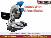 Silverline DIY 1400W Compound Mitre Saw 210mm + 3 Free Blades