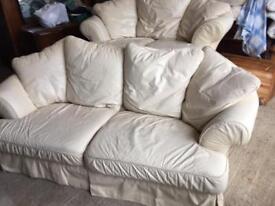 3 seater + 2 seater cream leather sofa