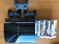 PS3 (Black) + 3 Controllers +10 games +3 Blue Ray DVD