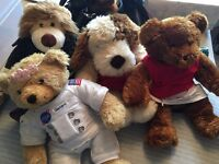 4 x Bear Factory Bears and Box of Clothes £15