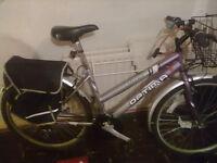 ladys mountain bike 18 speed in vgc has panniers /basket /lights/an lock rigid frame runs nice £40