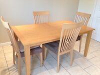 Morris light oak veneered table and 4 chairs