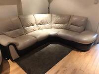 Leather Corner Sofa Cream & Chocolate £350 ONBO