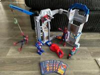 Spider-Man toy bundle ,figures ,cards ,buildings