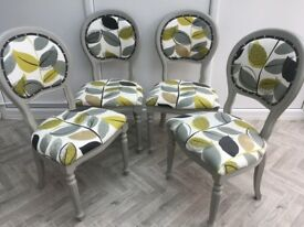 Refurbished Shabby Chic Set of Four Victorian Style Balloon Back Chairs