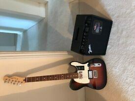 NEW Fender Telecaster HH (3 Tone Sunburst PF), New Fender Mustang LT25 amp & Fender Deluxe cable