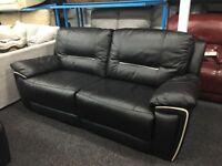 New/Ex Display Recliner Reid Hedgemoor Black Leather 3 Seater Sofa