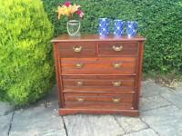 Antique PINE chest of drawers SOLID WOOD brass handles TALL BOY