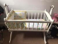 Baby swing crib in white with John Lewis accessories