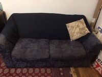 Sofa Bed - dark blue with metal frame