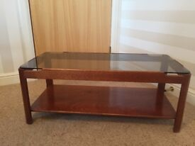 Retro 1970's Solid Wood & Smoked Glass Coffee Table