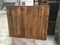 Feather edge fence panels pressure treated brown