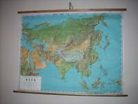 Mint Vintage 1960s School Wall Map of Asia by Philips