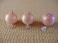 3 X 8cm Dia Pink Glitter Ball Christmas Tree Baubles Tree Decorations Ornaments