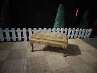 BEAUTIFUL MUSTARD COLOUR VELVET FOOT STOOL WITH QUEEN LEGS VERY SOLID AND IN EXCELLENT CONDITION
