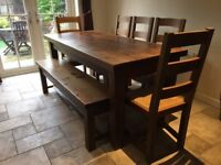 Great Quality Dining Room Table, Chairs & Bench Set for Sale