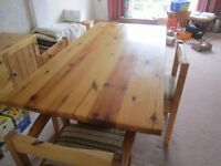 Retro hamlet pine table 4 chairs kitchen dining very solid quality pine