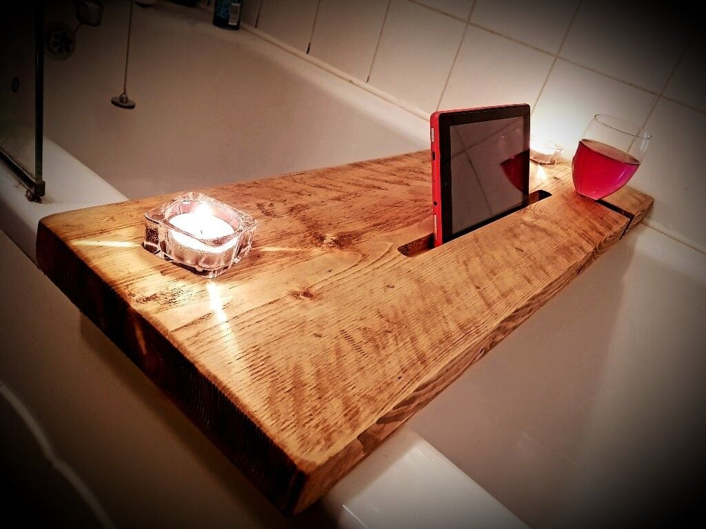 Reclaimed wooden bath caddy board tablet holder candle holder rustic ...