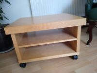 Solid wood side table with shelving