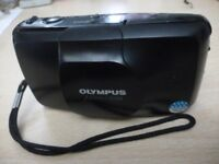 beautiful olympus mju zoom f3.5 weatherproof fixed focal lens film camera & two brand new batterys