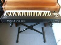 SuperLight+Compact ROLAND RD64 STAGE PIANO. 12kg, 'Ivory' Weighted Keys, Case, 30x30mm QUIKLOK stand