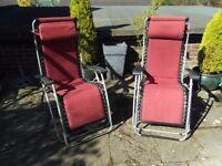 2 Lafuma zero gravity recliner chairs
