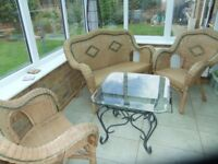 Cane conservatory chair set and glass topped table