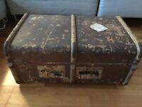 Vintage Travel Steamer Trunk (Coffee Table)
