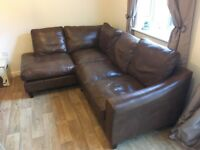 Laura Ashley Baslow range, left hand corner sofa in Harvest leather