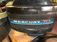Boats mercury 70hp outboard engine with controls.