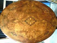 A Superb Victorian Burr Walnut Inlaid Tilt Top Table