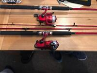 X3 brand new 7ft Shakespeare rods reel and line