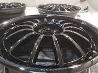 R18 Alloys wheels J7.5 4x100 4x 108 multifit Nice refurbished black glosss