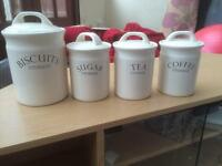 Biscuit, sugar, tea and coffee storage containers