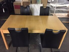 SALE Extending Solid Oak Wood Dining Table 4 Leather Chairs