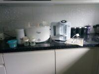 Tommy Tippee Feeding Bundle Inc. Prep Mechine, Steriliser, Bottles, Flask and powder dispenser