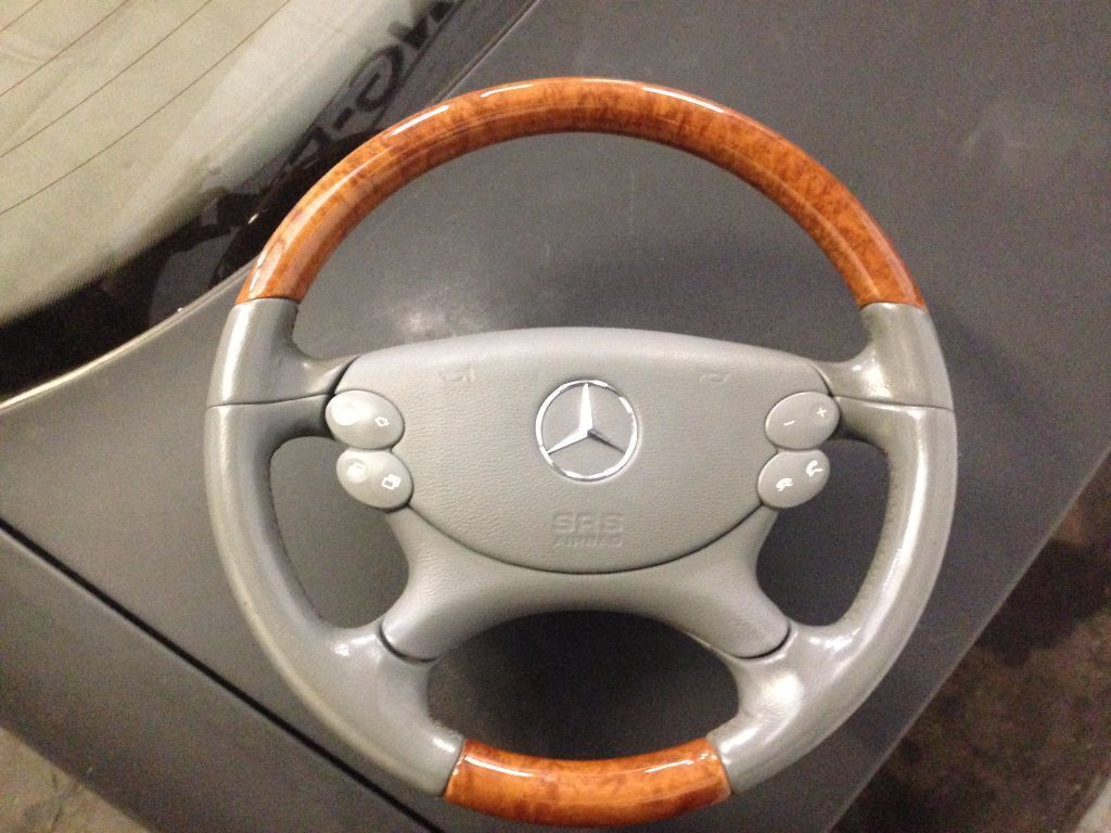 Mercedes benz steering wheel with airbag wood leather cls for Mercedes benz wood steering wheel