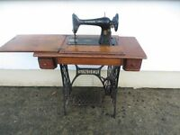 Old Singer Sewing Machine And Base