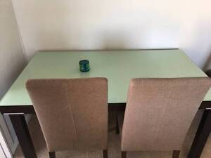 Dining set - Mahogany table with glass top - 6 chairs Cremorne North Sydney Area Preview