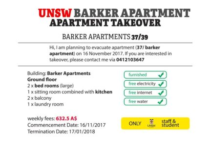 UNSW barker apartment