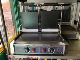 new double flat panini contact grill catering commercial kitchen fast food shop