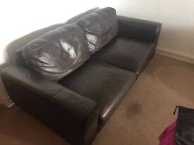 Brown lether sofa, used.