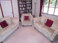 2 X Two seater sofas ,one plain one patterned, one chiar- will split - bought from Furniture Village