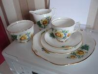 Bone china Duchess Tea set with sugar bowl and milk jug