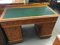 BEAUTIFUL SATIN WOOD CAPTAINS DESK WITH LEATHER TOP