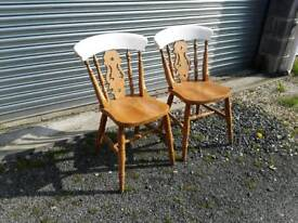 Pair of wooden kitchen or dining chairs