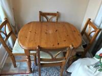 Lovely pine table and 4 chairs