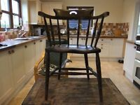 VICTORIAN SMOKERS BOW CHAIR WITH BOBBIN TURNED LEGS & BACK SUPPORTS MADE OF SOLID ELM GOOD CONDITION